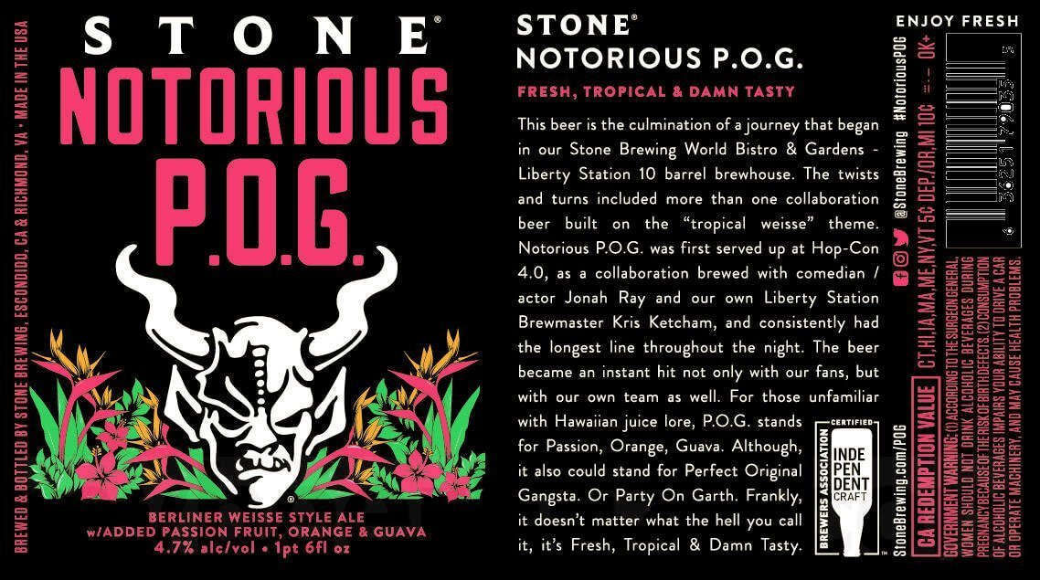Label Design for 12 oz. Cans of the Stone Notorious P.O.G. by Stone Brewing