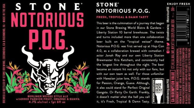 Label art for the Stone Notorious P.O.G. by Stone Brewing