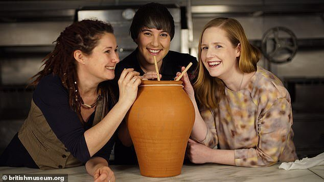 From left to right: Michaela Charles, Tasha Marks and Susan Boyle drinking their Ancient Egyptian beer from an authentic terracotta pot