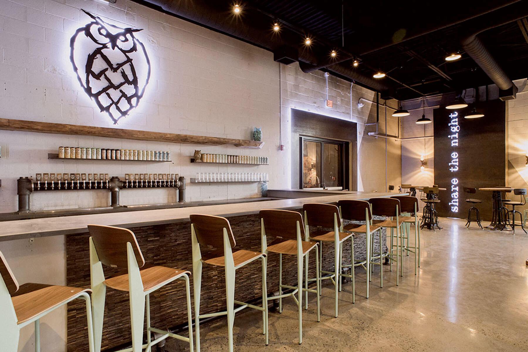 Inside the Night Shift Brewing Taproom in Boston, Massachusetts