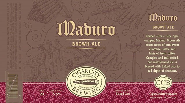 Label art for the Maduro Brown Ale by Cigar City Brewing