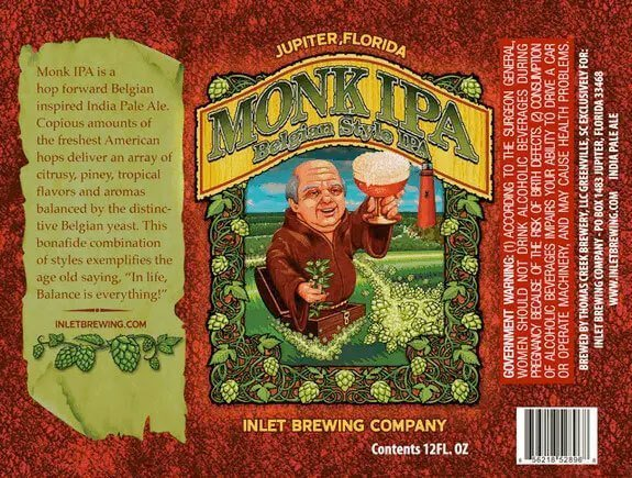 Label art for the Monk IPA by Inlet Brewing Company