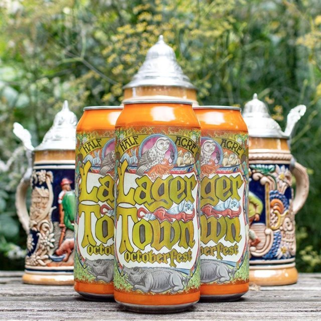 16 oz. Cans of the Lager Town Oktoberfest by Half Acre Beer Company