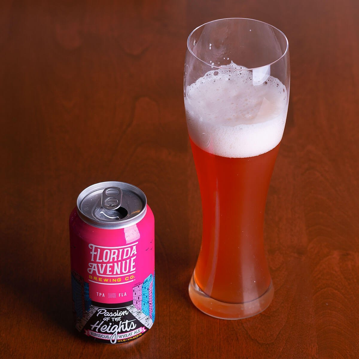 Passion of the Heights is an American Wheat Ale by Florida Avenue Brewing Co. that's easy drinking with citrus, hibiscus, rose, and cinnamon.