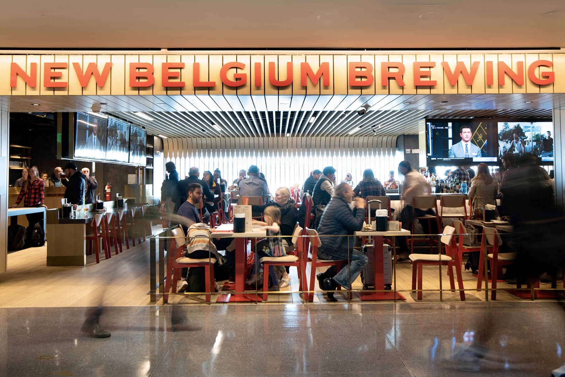 The New Belgium Brewing Company taproom inside the Denver International Airport.