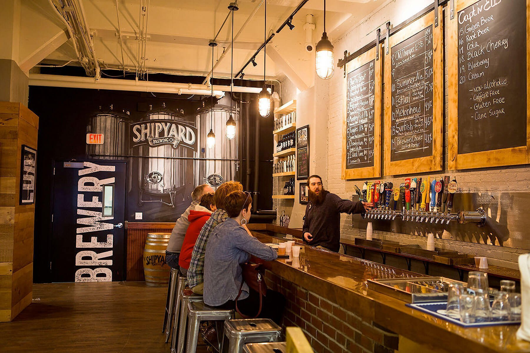Inside the Taproom at Shipyard Brewing Co. in Portland, Maine
