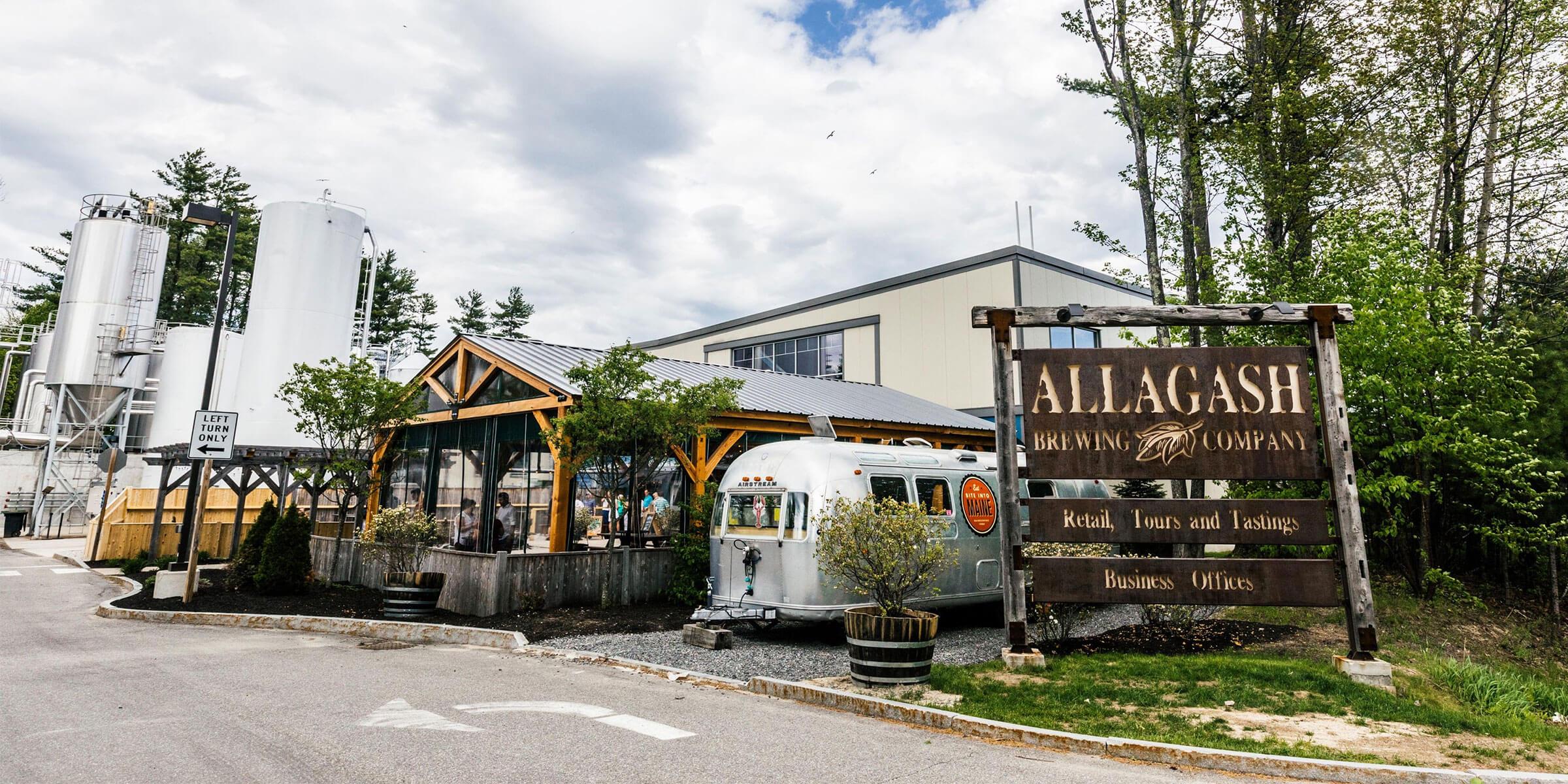 Outside Allagash Brewing Company in Portland, Maine
