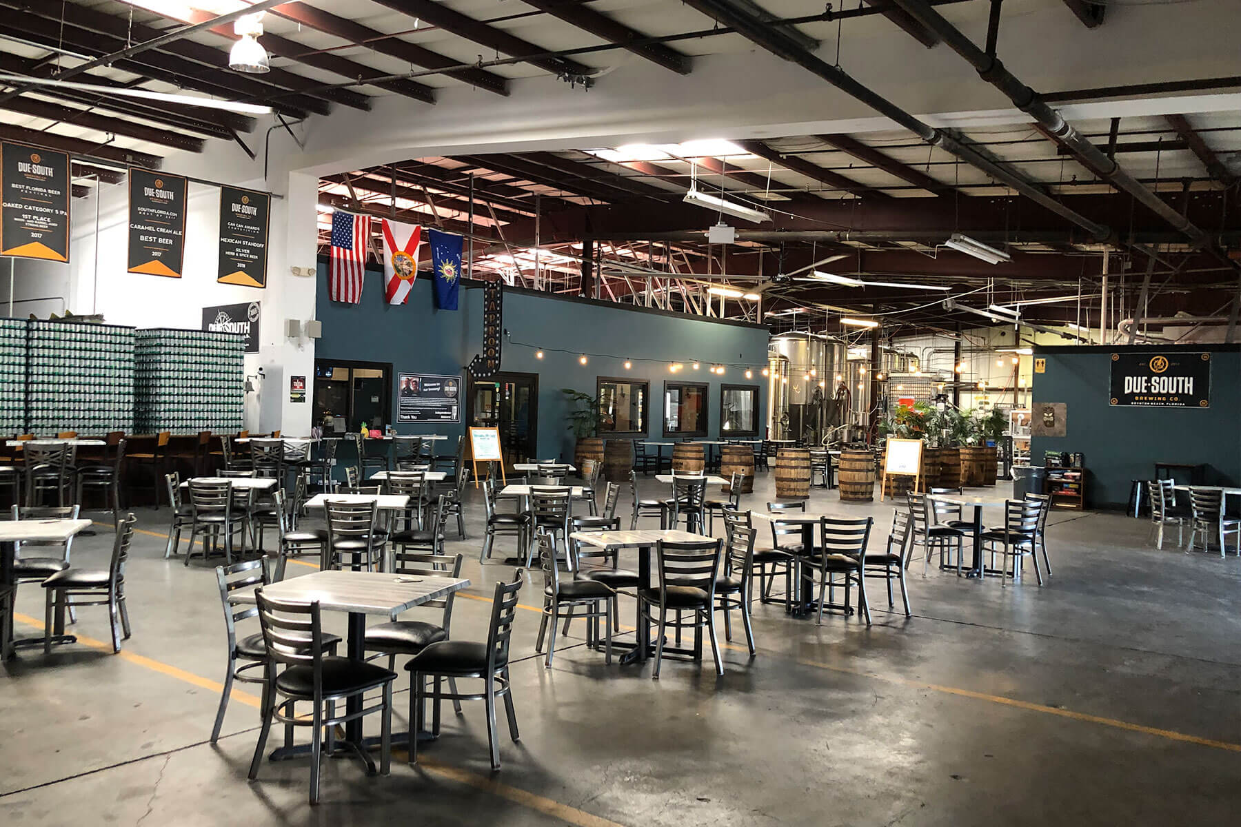 Inside the taproom at Due South Brewing Co. in Boynton Beach, Florida