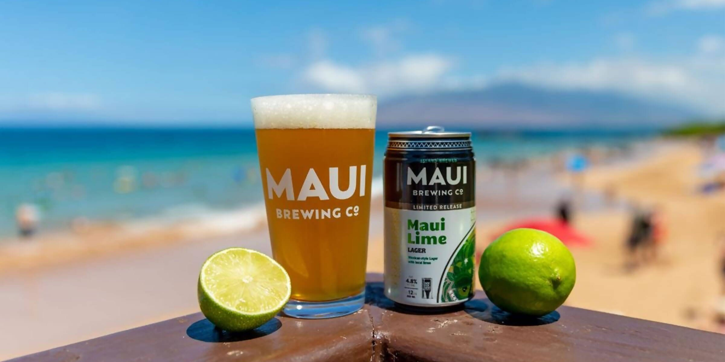 12 oz. can of the Maui Lime Lager and a Maui Brewing Company branded shaker pint glass