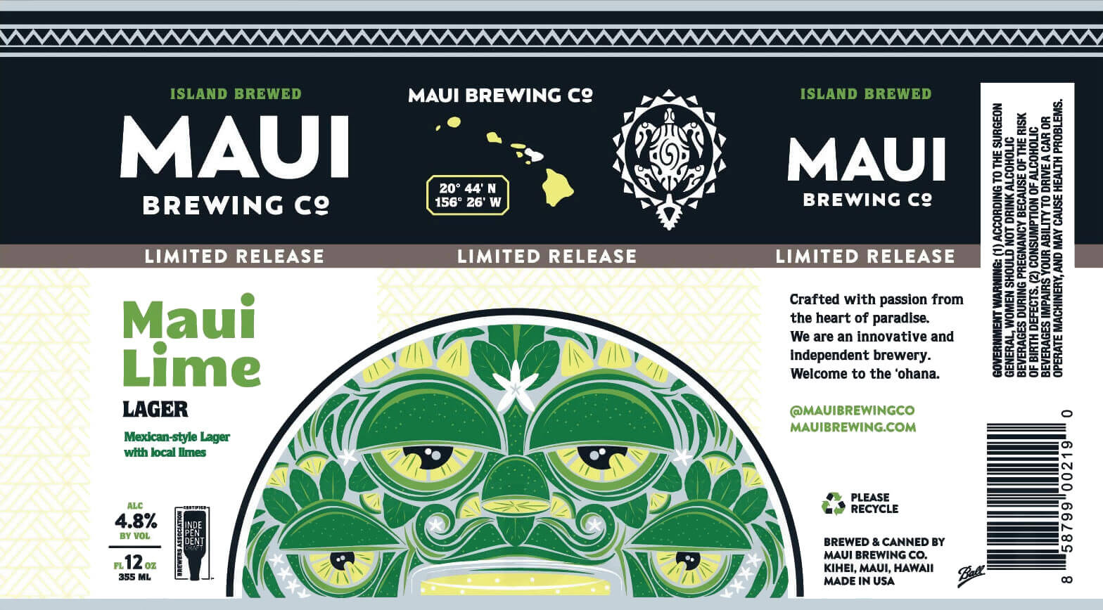 Label design for 12 oz. cans of the Maui Lime Lager by Maui Brewing Company