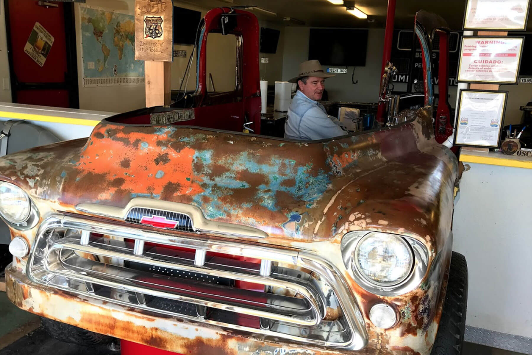 Inside the taproom at Route 66 Junkyard Brewery in Grants, New Mexico
