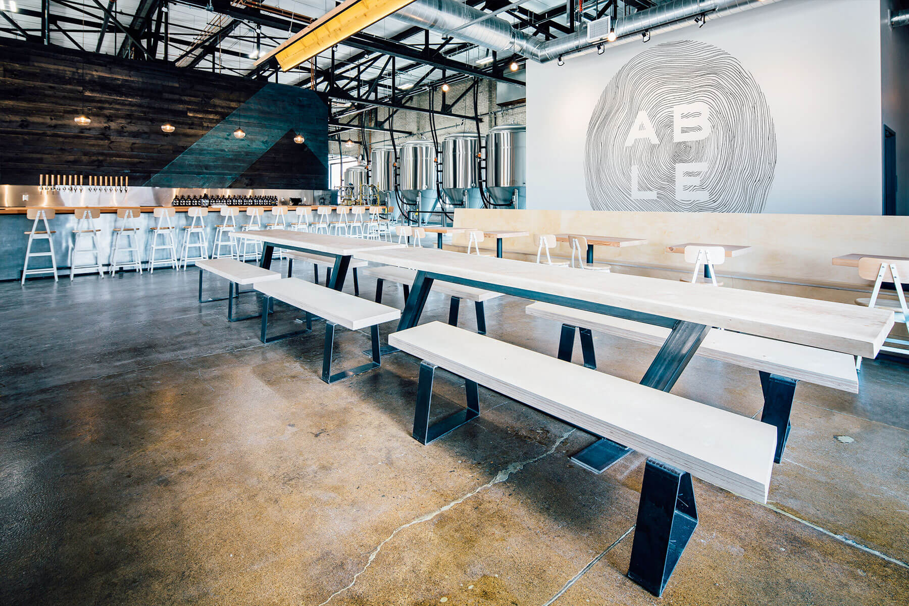 Inside the Able Seedhouse + Brewery taproom in Minneapolis, Minnesota