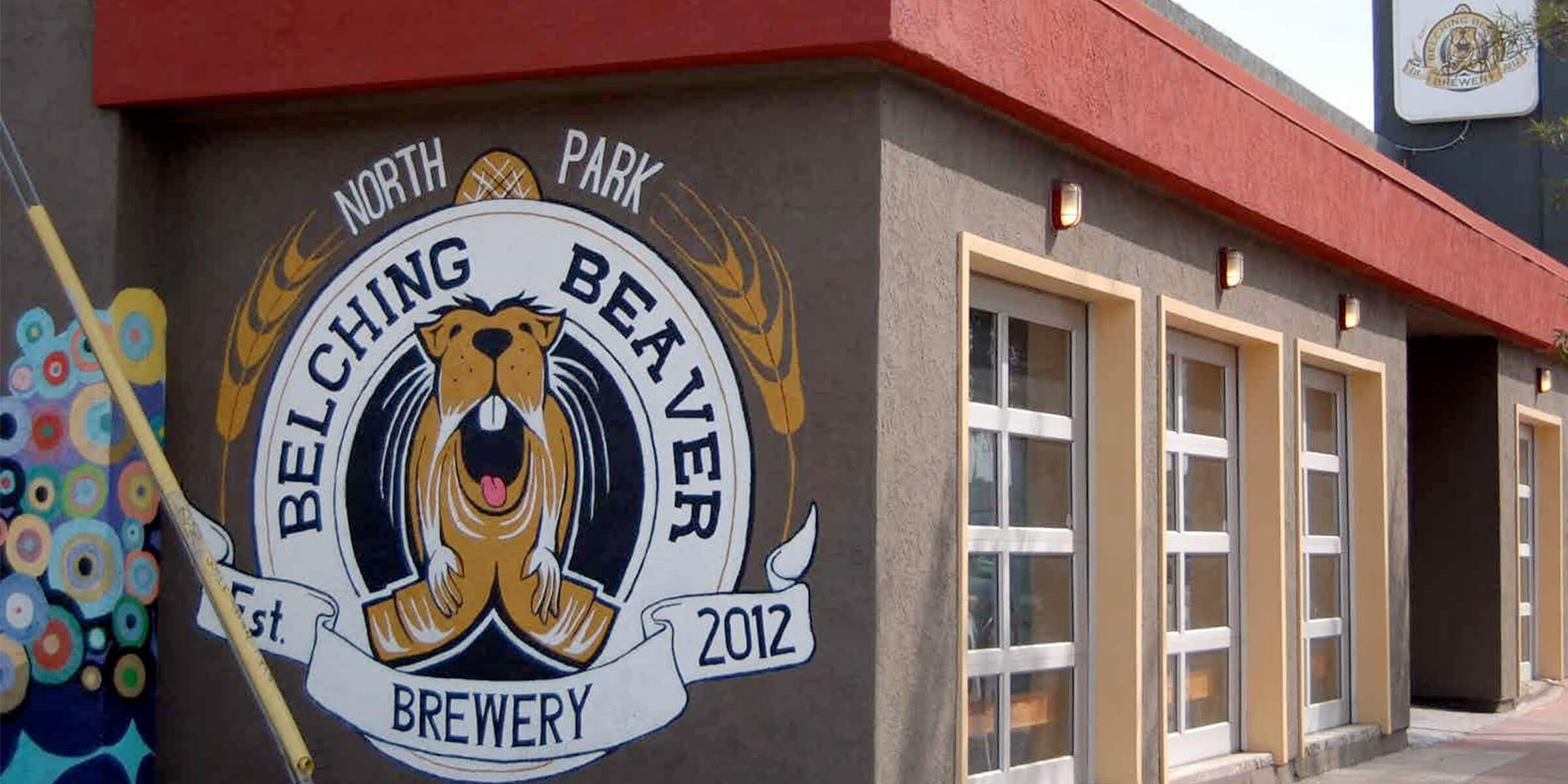 Outside the entrance to the Belching Beaver Brewery taproom in the North Park neighborhood of San Diego, California