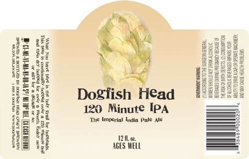 Label art for the 120 Minute IPA by Dogfish Head Craft Brewery