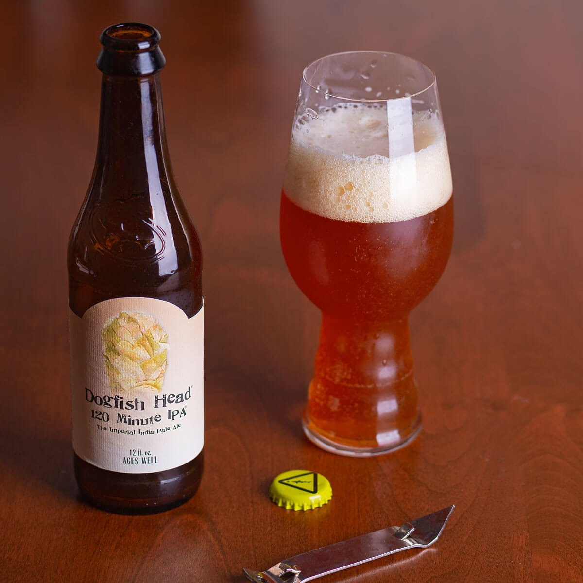 120 Minute IPA, an American Double IPA by Dogfish Head Craft Brewery balances big pine and resin hops with caramel malt, awash with booze.
