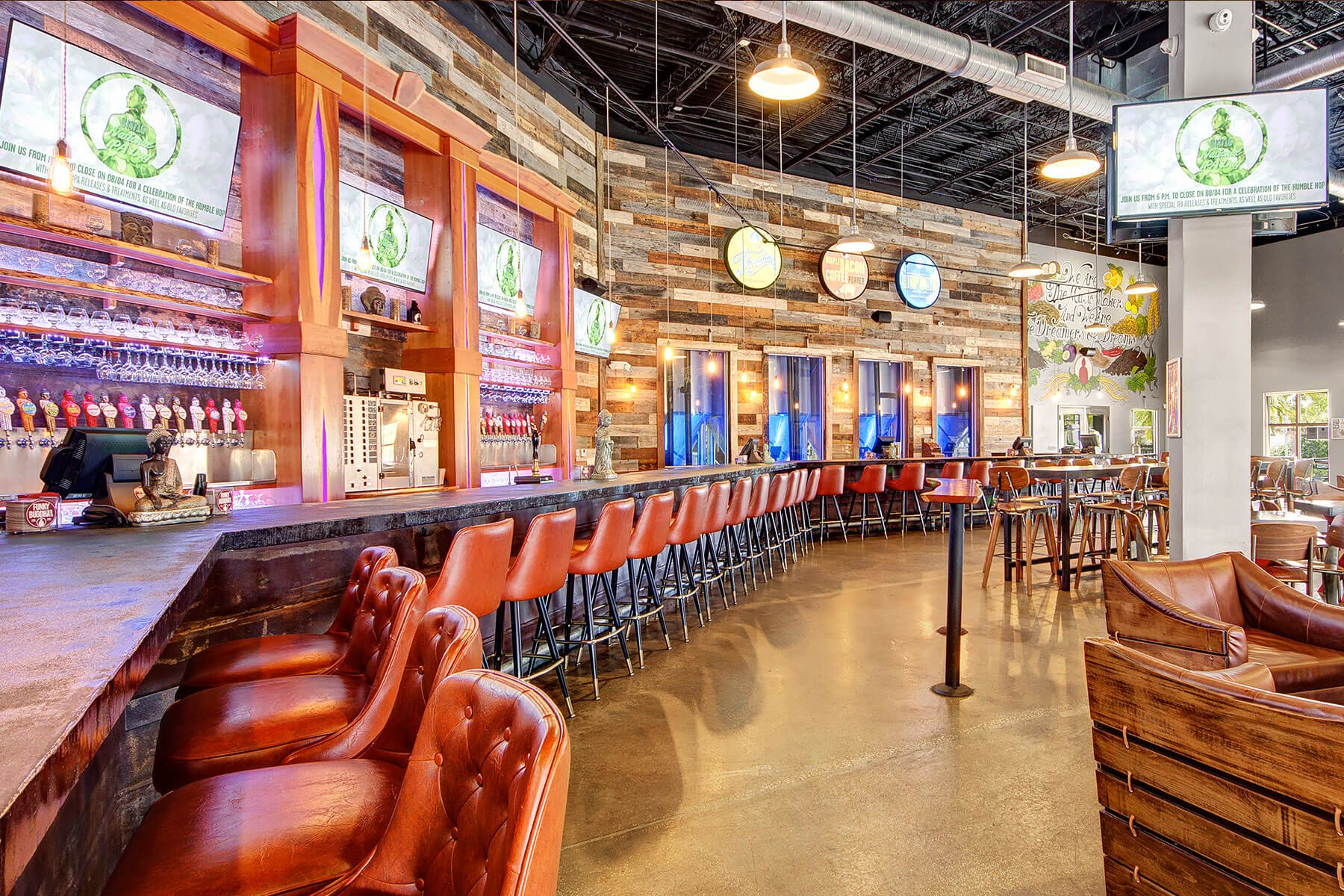 Inside the taproom at Funky Buddha Brewery in Oakland Park, Florida
