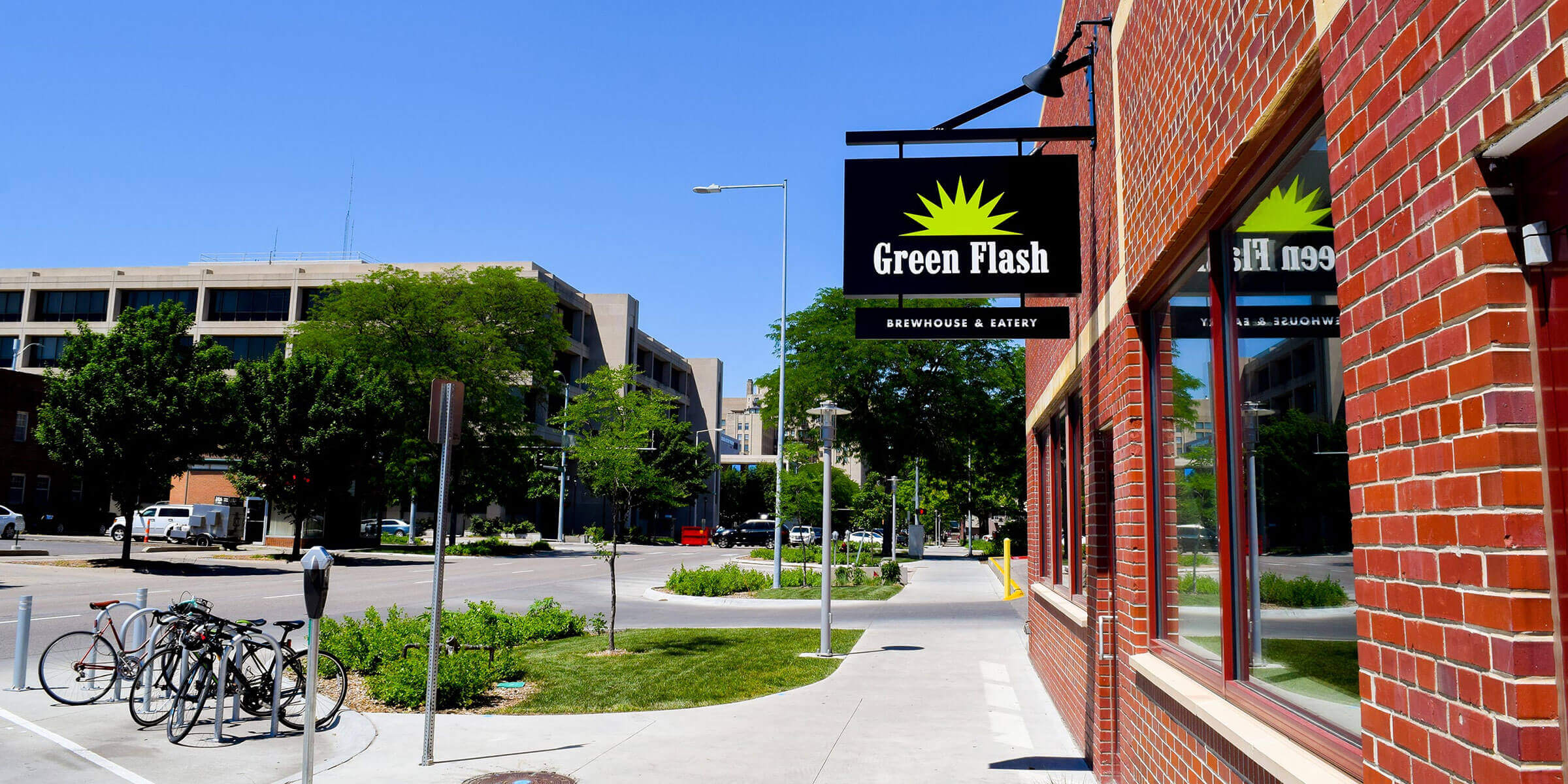 Outside the Green Flash Brewing Co. taproom in Lincoln, Nebraska