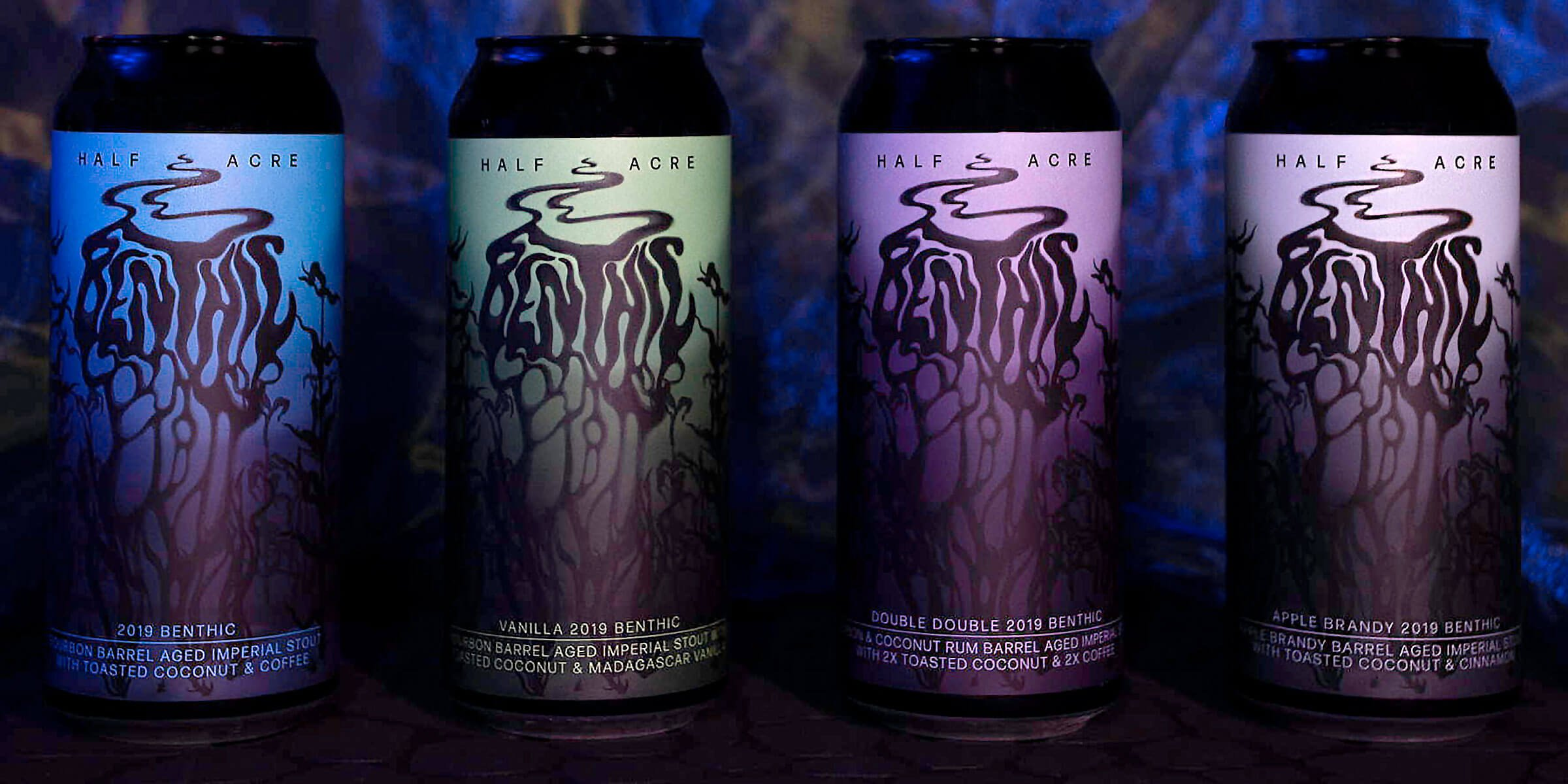 Cans of the 2019 Benthic Imperial Stout and its three variants by Half Acre Beer Company