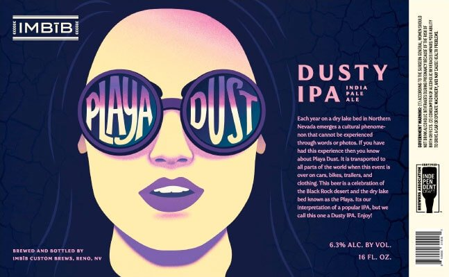 Label art for the Playa Dust by IMBĪB Custom Brews