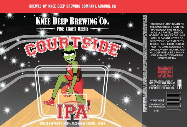 Label art for the Courtside IPA by Knee Deep Brewing Co.
