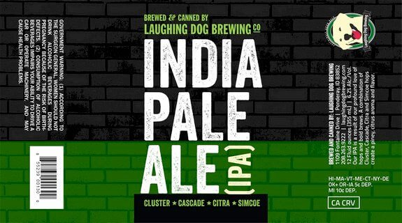 Label art for the India Pale Ale (I.P.A.) by Laughing Dog Brewing