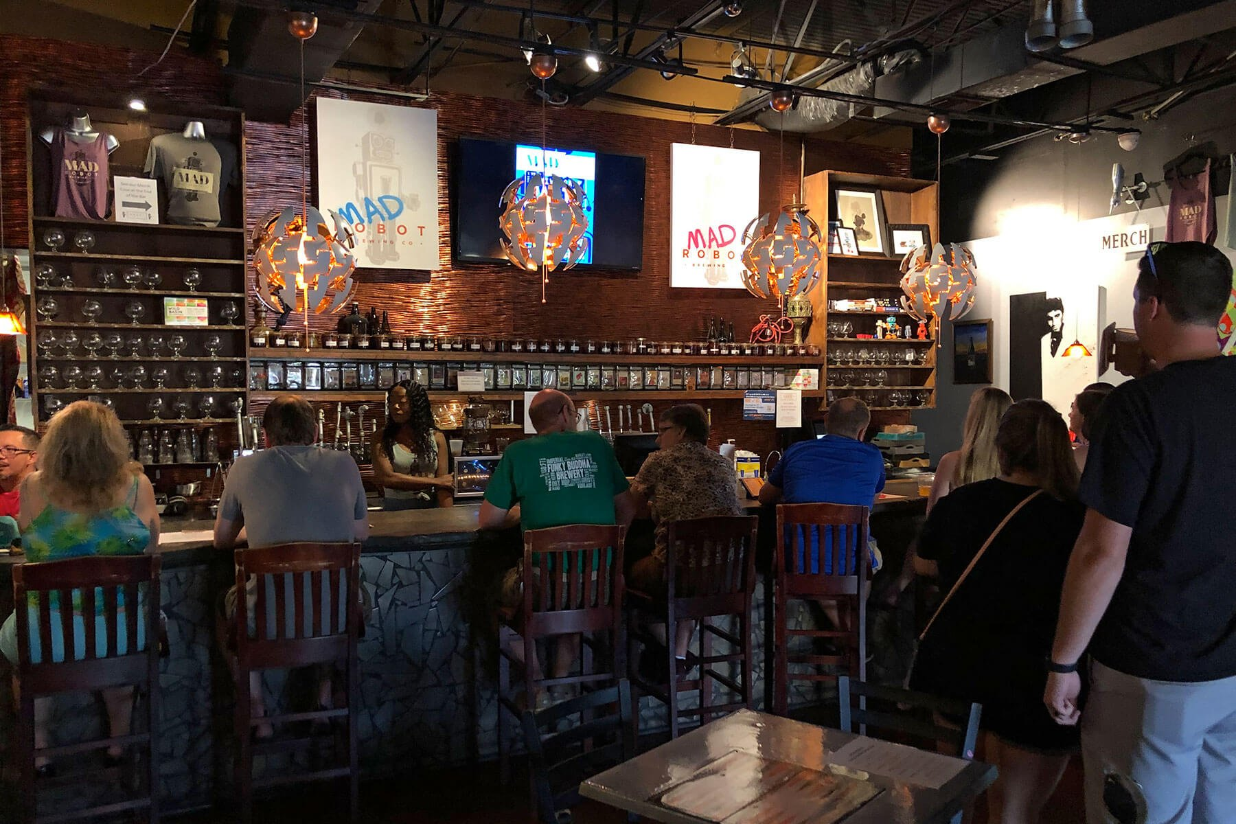 Inside the taproom at Mad Robot Brewing Co. in Boca Raton, Florida