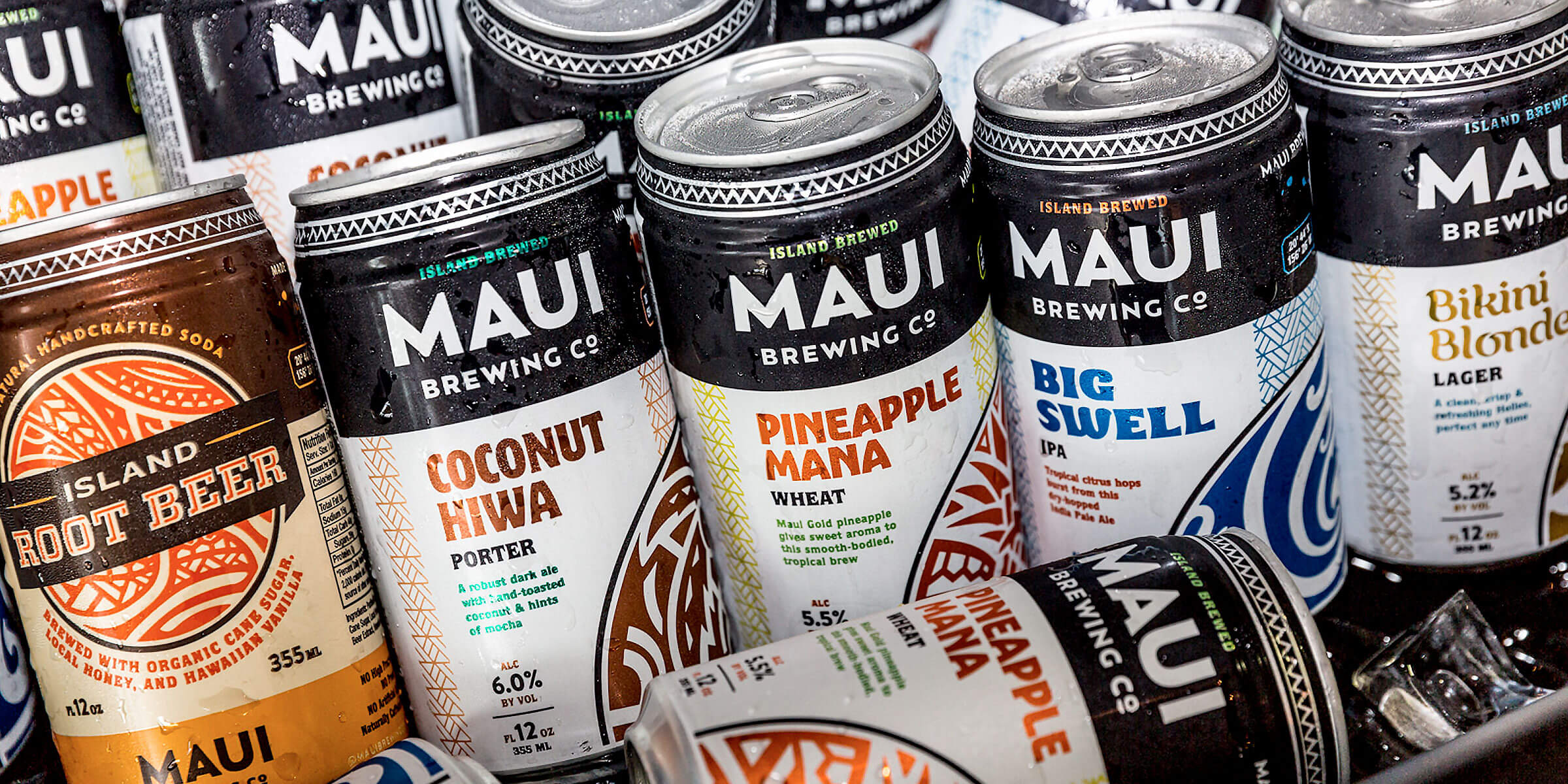 A collection of canned beers and beverages by Maui Brewing Company