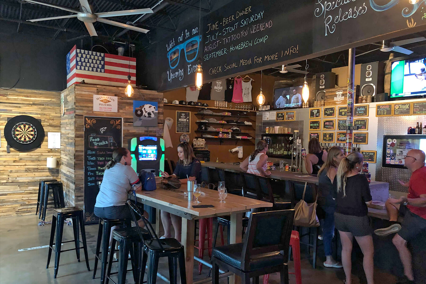 Inside the taproom at Prosperity Brewers in Boca Raton, Florida