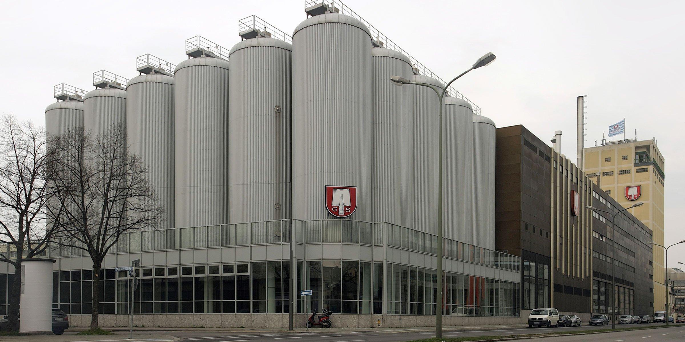 Outside the Spaten-Franziskaner-Bräu production facility in Munich, Germany