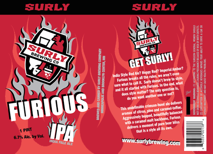 Label art for the Furious by Surly Brewing Co.
