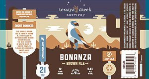 Label art for the Bonanza Brown Ale by Tenaya Creek Brewery