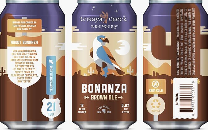 Packaging art for the Bonanza Brown Ale by Tenaya Creek Brewery