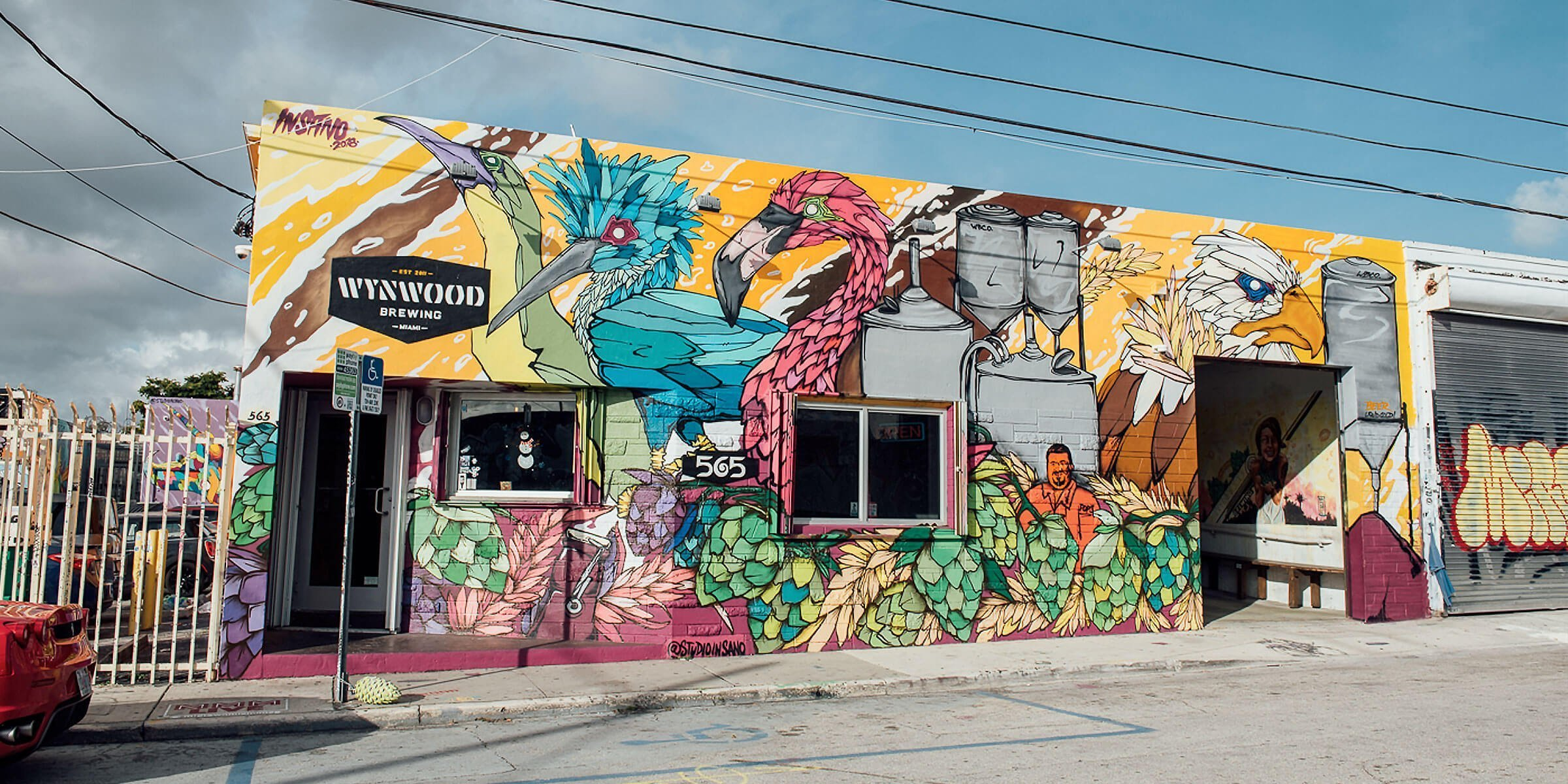 Outside the entrance to Wynwood Brewing Company in Miami, Florida
