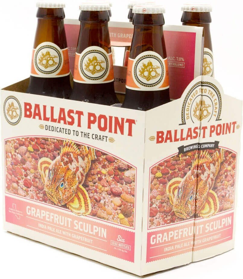 Packaging art for the Grapefruit Sculpin by Ballast Point Brewing Company