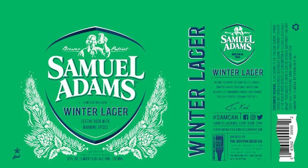Label art for the Samuel Adams Winter Lager by Boston Beer Company