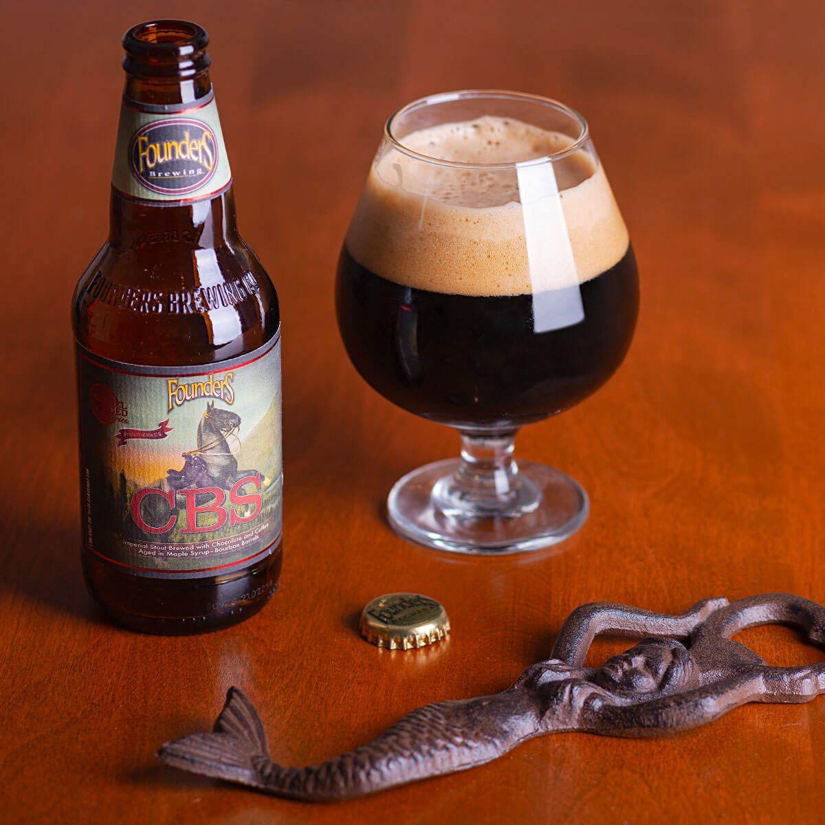 CBS (Canadian Breakfast Stout) is an American Imperial Stout by Founders Brewing Co. that masterfully blends coffee, maple, dark chocolate and bourbon.