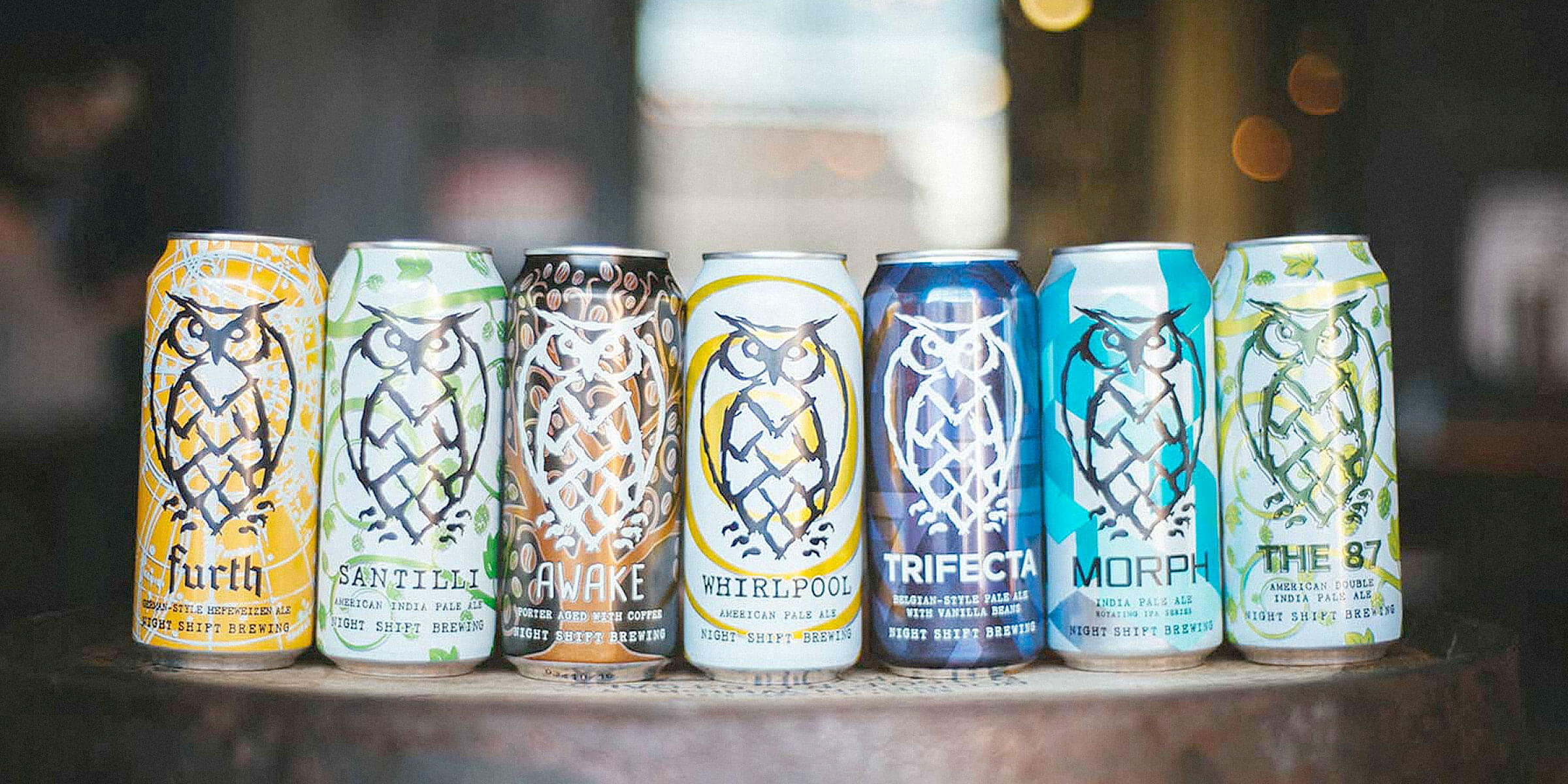 Lineup of canned beers offered by Night Shift Brewing