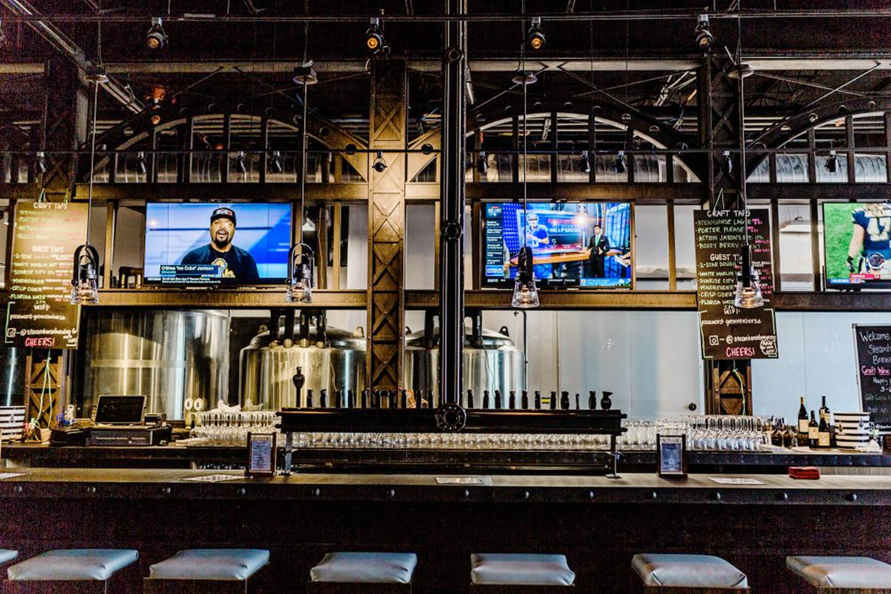 Inside the Steam Horse Brewing taproom in West Palm Beach, Florida