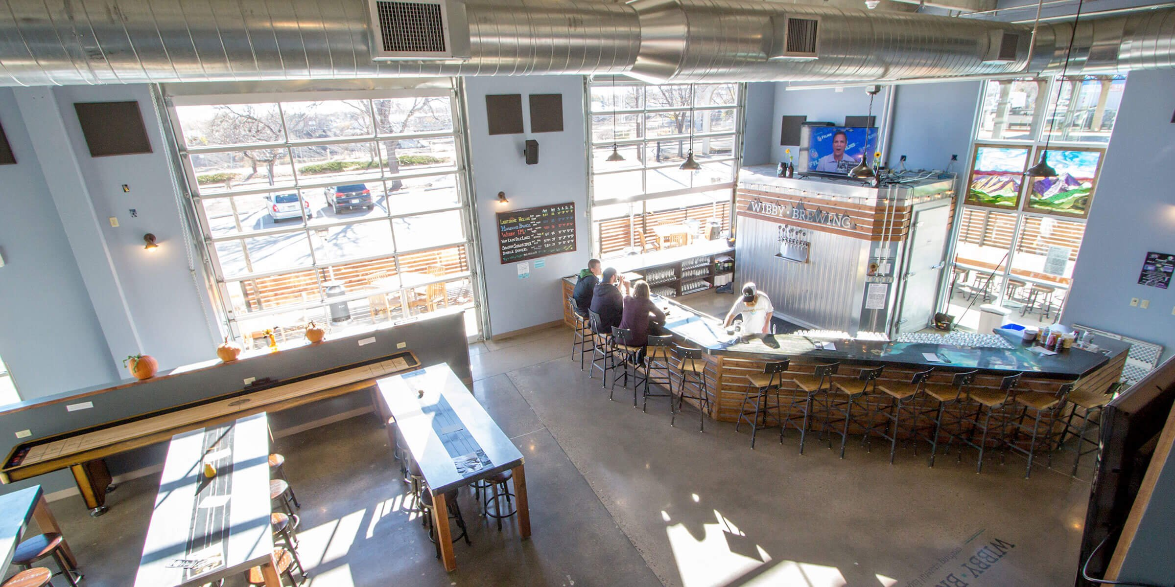 Inside the taproom at Wibby Brewing in Longmont, Colorado