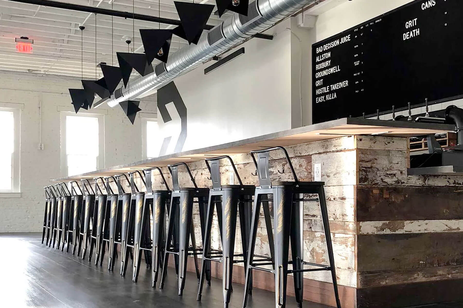Inside the taproom at Backlash Beer Company located in Boston, Massachusetts