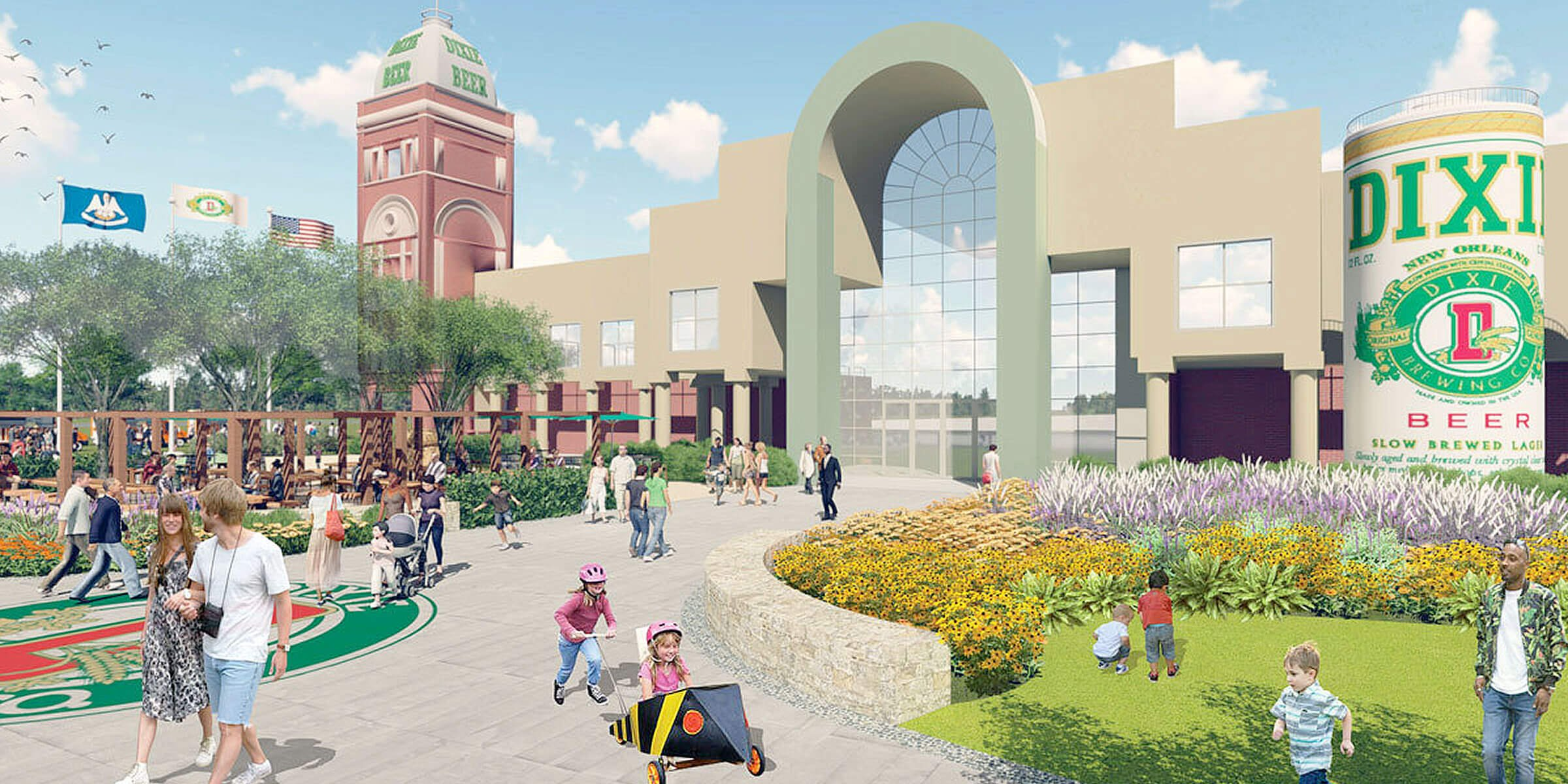 Conceptual rendering of the new Dixie Brewing Company in New Orleans, Louisiana