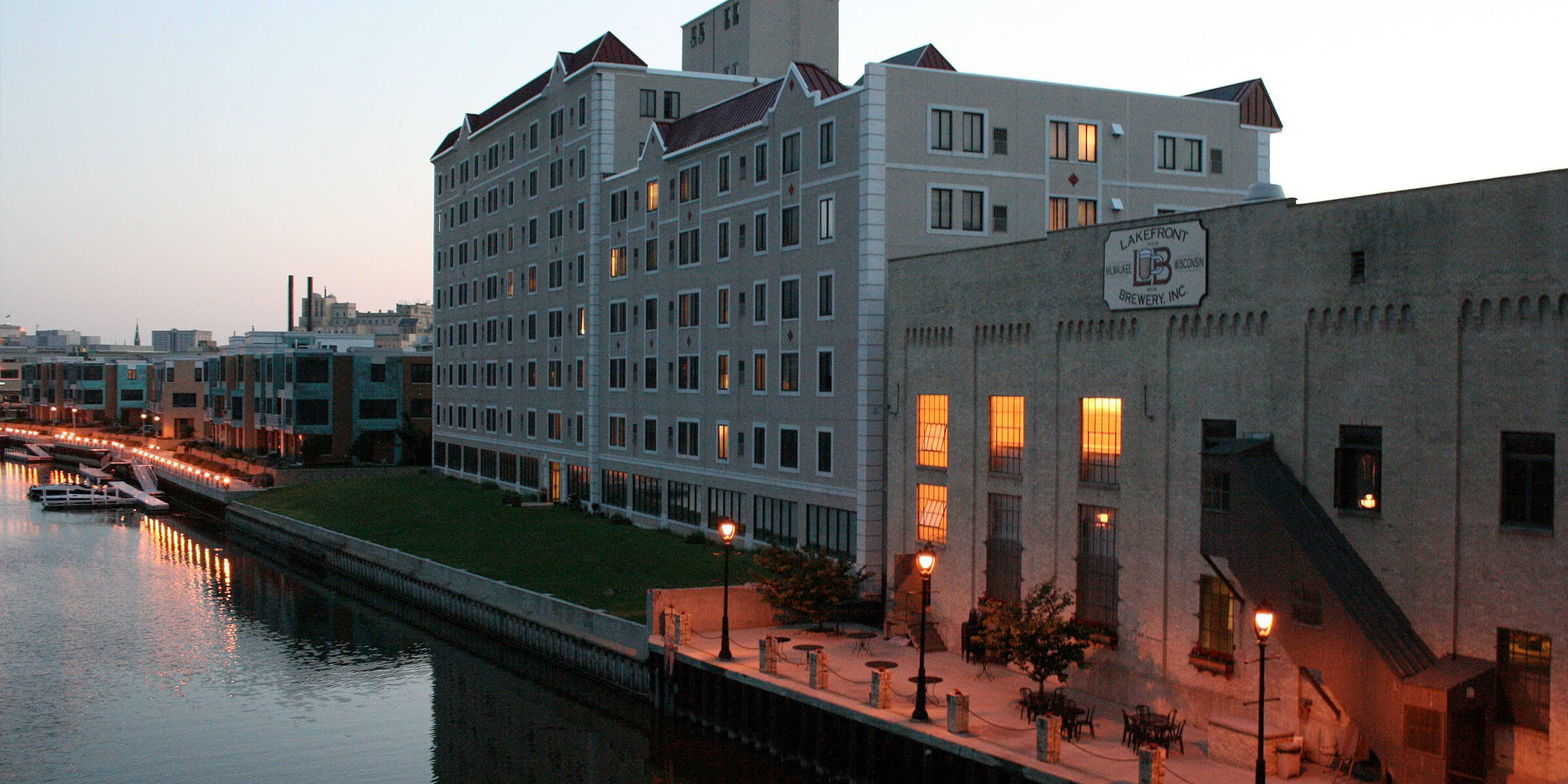Outside the Lakefront Brewery along the Milwaukee River in Milwaukee, Wisconsin