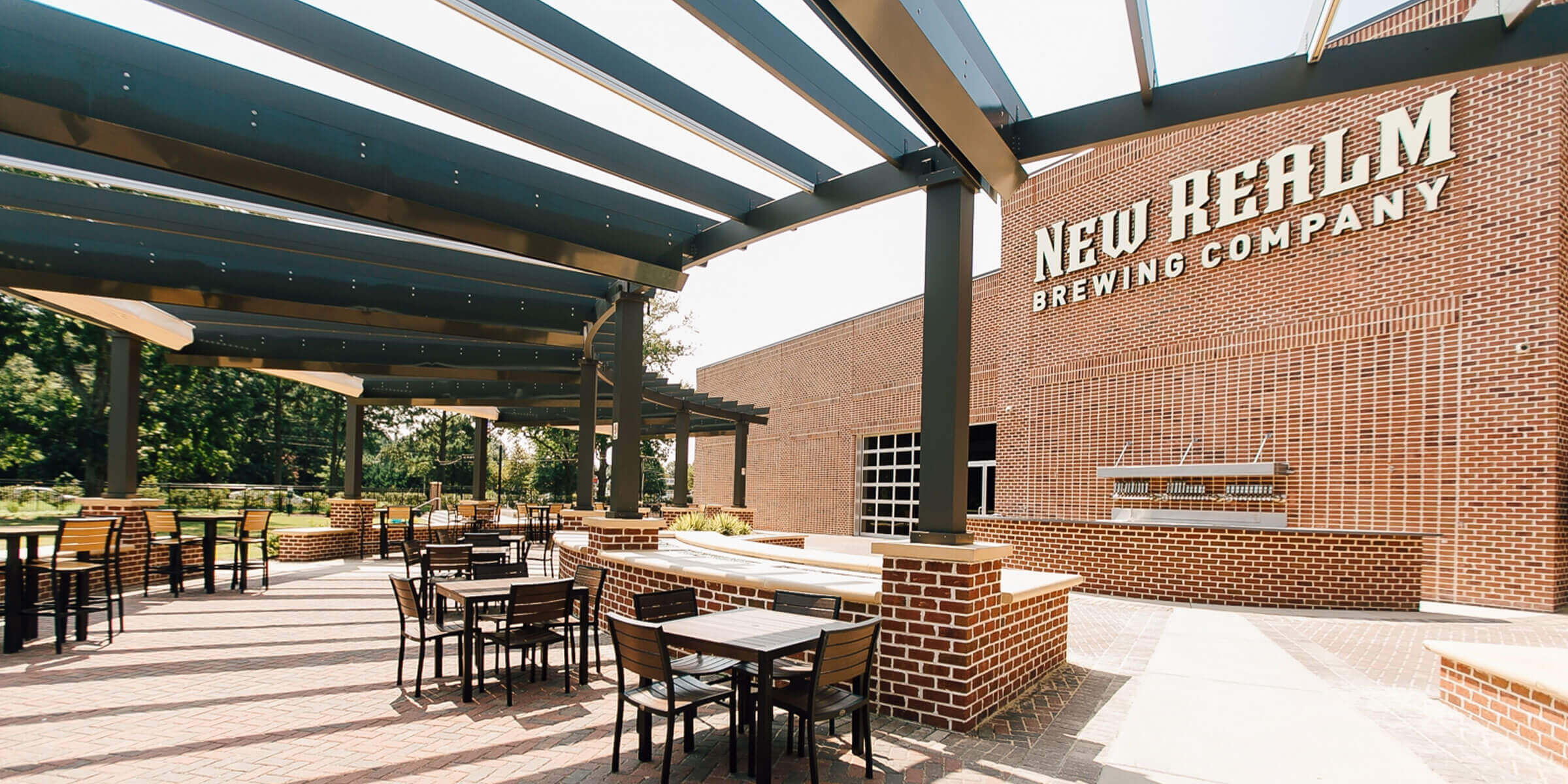 Outdoor space at the New Realm Brewing Company location in Virginia Beach, Virginia