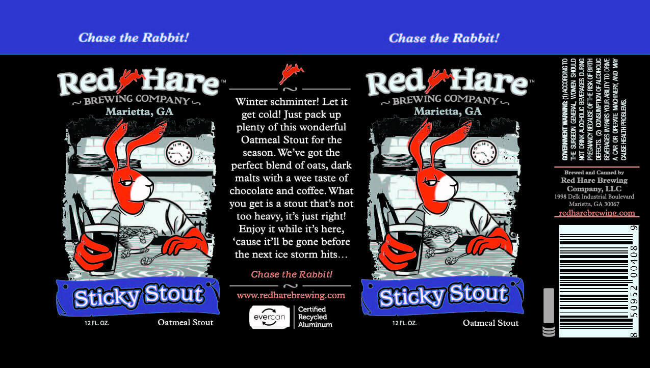 Label art for the Sticky Stout by Red Hare Brewing Company