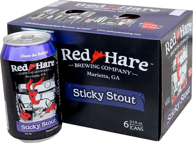 Packaging art for the Sticky Stout by Red Hare Brewing Company