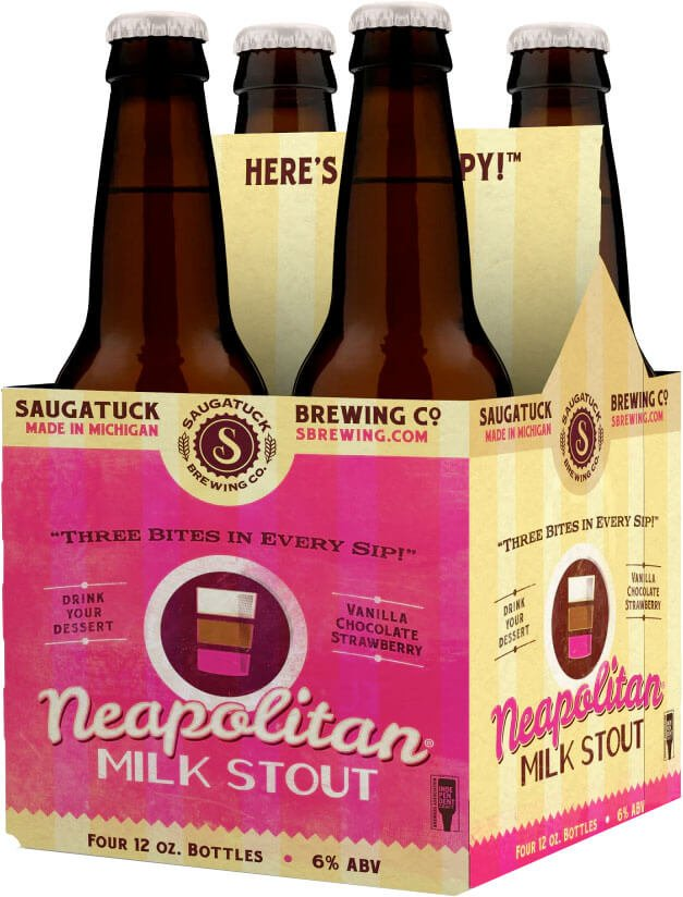 Packaging art for the Neapolitan Milk Stout by Saugatuck Brewing Co.