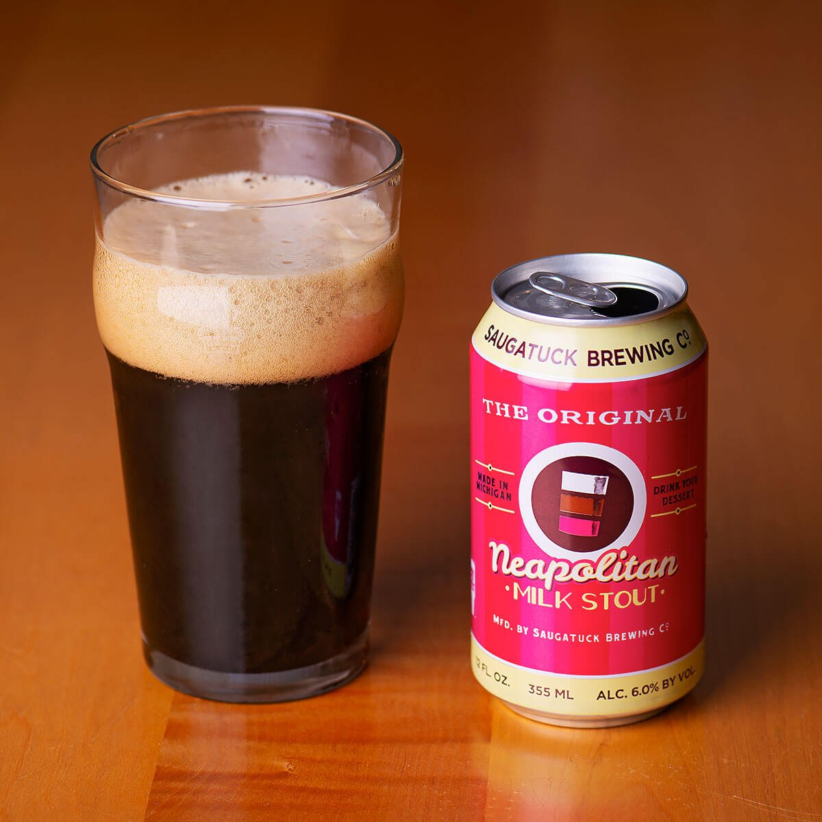 Neapolitan Milk Stout is a Milk Stout by Saugatuck Brewing Co. that blends sweet strawberry, vanilla, and chocolate with roast malt.