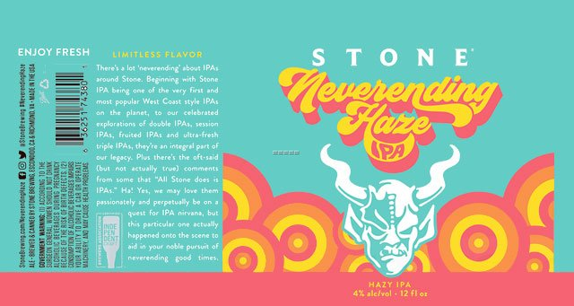 Label design for 12 oz. cans of the Neverending Haze IPA by Stone Brewing
