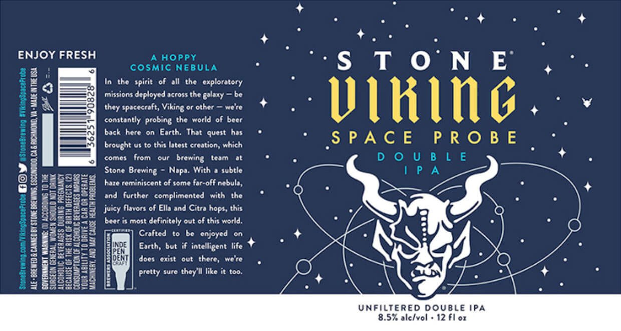 Label design for 12 oz. cans of the Viking Space Probe Double IPA by Stone Brewing