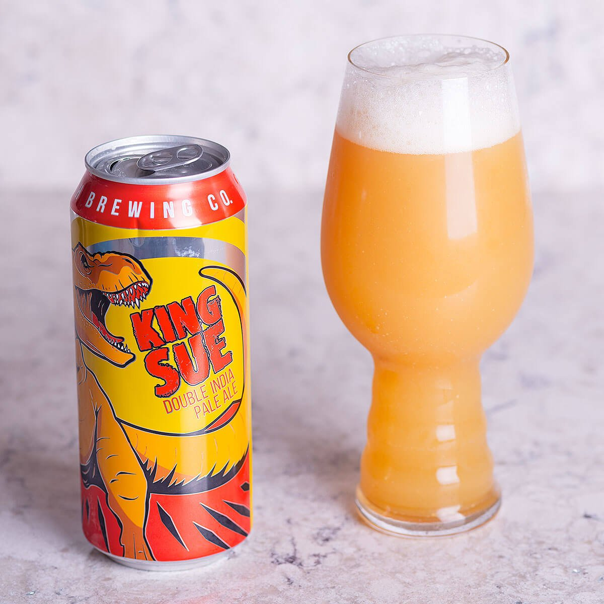 King Sue is a New England-style Double IPA by Toppling Goliath Brewing Co. that delivers a mighty bite of citrus and tropical fruit.